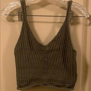 Top shop knitted olive green crop top